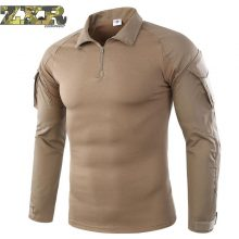 Men Summer Army Combat Tactical T Shirt Military Camouflage Long Sleeve Military T-shirts Man Clothes Airsoft Paintball No Pads