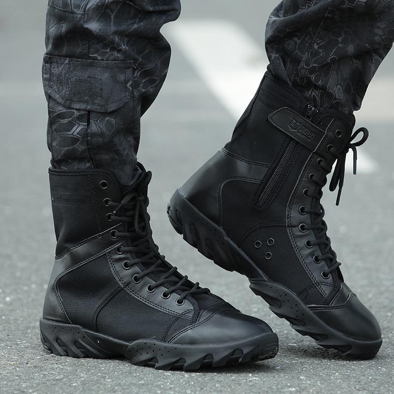 black combat Military men Outdoor Shoes