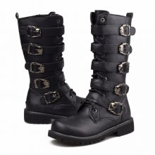 Men Military Leather Combat Metal Buckle Male Motorcycle Punk Boots Men's Shoes